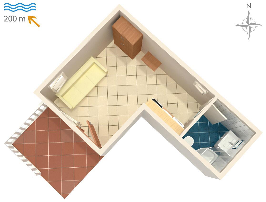 Ferienwohnung Studio Appartment im Ort Metajna (Pag), Kapazität 2+0 (1012276), Zubovici, Insel Pag, Kvarner, Kroatien, Bild 9