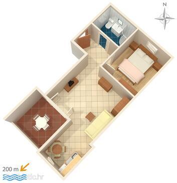 Novalja, План в размещении типа apartment, WiFi.