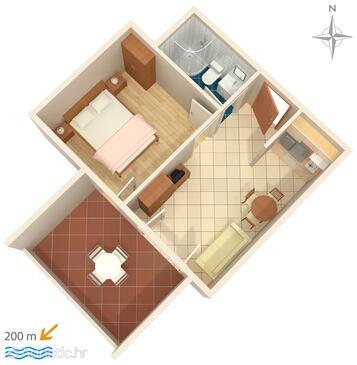 Novalja, Půdorys v ubytování typu apartment, WiFi.