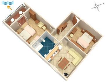 Turanj, Půdorys v ubytování typu apartment, WiFi.