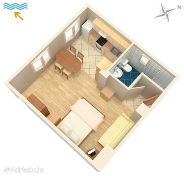 Turanj, Plan in the studio-apartment, WiFi.