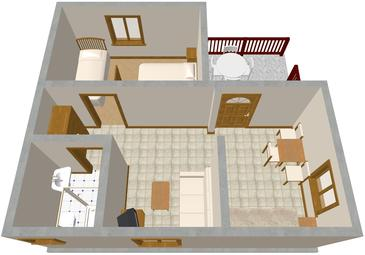 Orebić, Plan kwatery w zakwaterowaniu typu apartment, WIFI.