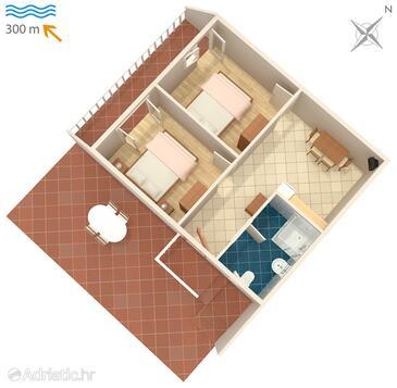 Povljana, Půdorys v ubytování typu apartment, WiFi.