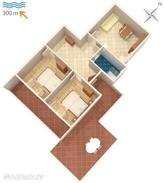 Povljana, План в размещении типа apartment, WiFi.