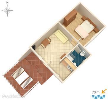 Stara Novalja, Alaprajz szállásegység típusa apartment, WiFi .