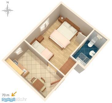 Stara Novalja, Půdorys v ubytování typu studio-apartment, WiFi.