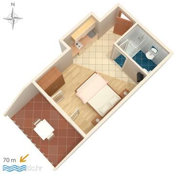 Stara Novalja, Proiect în unitate de cazare tip studio-apartment, WiFi.