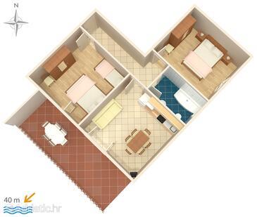 Metajna, План в размещении типа apartment, Домашние животные допускаются и WiFi.