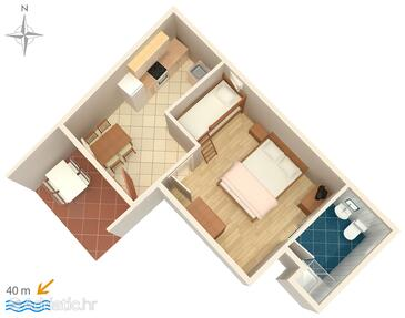 Metajna, Plan in the apartment, (pet friendly) and WiFi.
