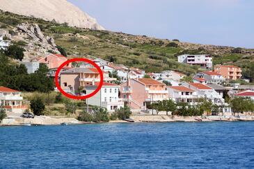 Metajna, Pag, Objekt 6522 - Apartmaji v bližini morja s prodnato plažo.