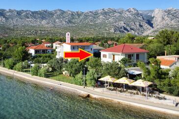 Seline, Paklenica, Объект 6544 - Апартаменты вблизи моря с галечным пляжем.