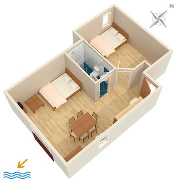 Jadranovo, Plan kwatery w zakwaterowaniu typu apartment, WIFI.