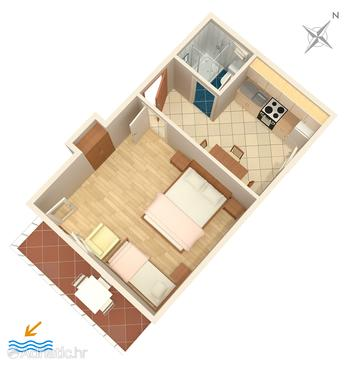 Mimice, Plan in the studio-apartment, (pet friendly) and WiFi.