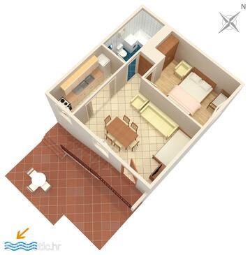 Marušići, Půdorys v ubytování typu apartment, WiFi.