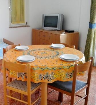 Novalja, Sufragerie în unitate de cazare tip apartment, aer condiționat disponibil şi WiFi.