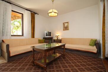 Starigrad, Pokój dzienny w zakwaterowaniu typu apartment, dostupna klima, dopusteni kucni ljubimci i WIFI.