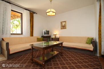 Starigrad, Obývací pokoj v ubytování typu apartment, s klimatizací, domácí mazlíčci povoleni a WiFi.