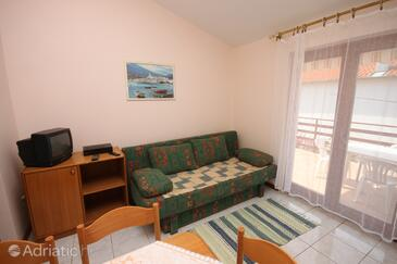 Starigrad, Living room in the apartment, dopusteni kucni ljubimci i WIFI.