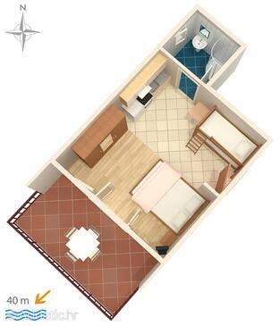 Starigrad, Půdorys v ubytování typu studio-apartment, WiFi.
