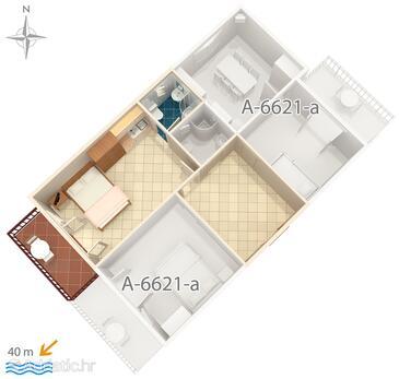 Starigrad, Plan in the studio-apartment, WIFI.