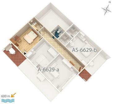 Seline, Plan kwatery w zakwaterowaniu typu studio-apartment, zwierzęta domowe są dozwolone.