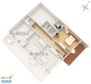 Seline, Půdorys v ubytování typu studio-apartment, domácí mazlíčci povoleni.