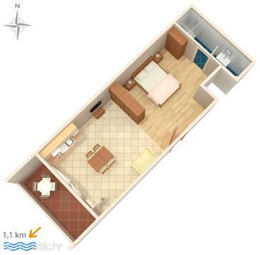 Makarska, Plan in the studio-apartment, WIFI.