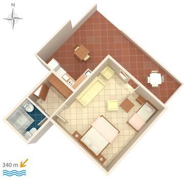Makarska, Plan in the studio-apartment.