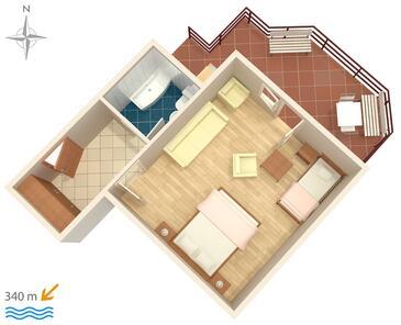 Makarska, Plan kwatery w zakwaterowaniu typu studio-apartment.