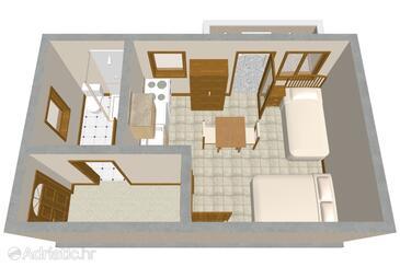 Zukve, Plan in the studio-apartment.