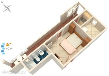 Tučepi, Plan in the apartment, dopusteni kucni ljubimci i WIFI.