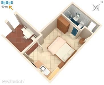 Tučepi, Plan in the studio-apartment, dopusteni kucni ljubimci i WIFI.