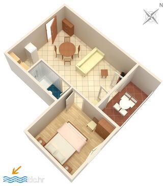 Drvenik Donja vala, Plan in the apartment, dopusteni kucni ljubimci i WIFI.
