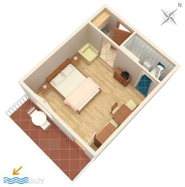 Drvenik Donja vala, План в размещении типа studio-apartment, Домашние животные допускаются и WiFi.