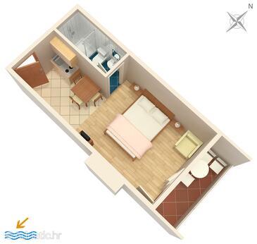 Drvenik Donja vala, Půdorys v ubytování typu studio-apartment, domácí mazlíčci povoleni a WiFi.