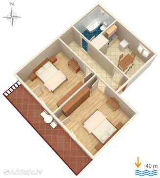 Privlaka, Plan in the apartment, WiFi.