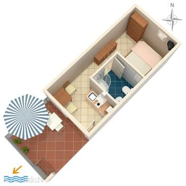 Gradac, Plan in the studio-apartment, dopusteni kucni ljubimci i WIFI.