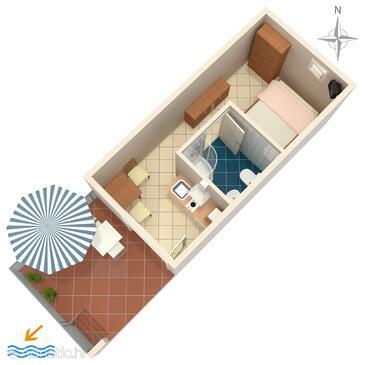 Gradac, План в размещении типа studio-apartment, Домашние животные допускаются и WiFi.