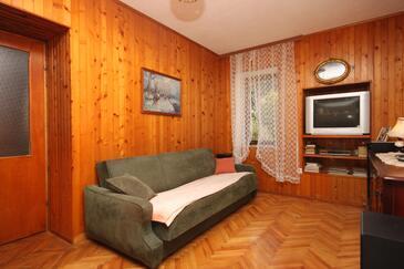 Drvenik Donja vala, Pokój dzienny w zakwaterowaniu typu apartment.