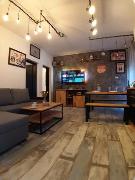 Podaca, Living room in the apartment, (pet friendly) and WiFi.
