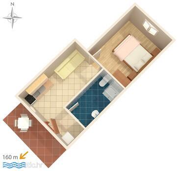Zaostrog, Plan in the apartment, dopusteni kucni ljubimci i WIFI.