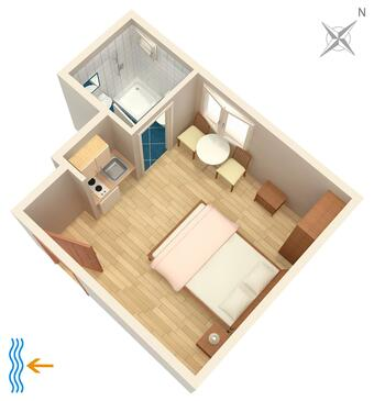 Tučepi, Plan in the studio-apartment, (pet friendly) and WiFi.