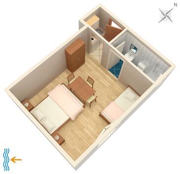Tučepi, Plan in the studio-apartment, (pet friendly) and WiFi.