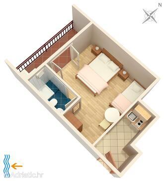 Tučepi, Schema nell'alloggi del tipo studio-apartment, animali domestici ammessi e WiFi.