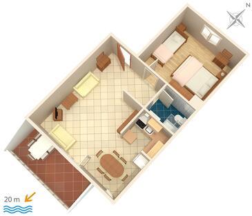 Podgora, Půdorys v ubytování typu apartment, domácí mazlíčci povoleni a WiFi.