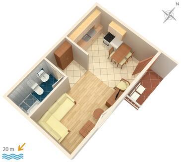 Podgora, Půdorys v ubytování typu studio-apartment, domácí mazlíčci povoleni a WiFi.