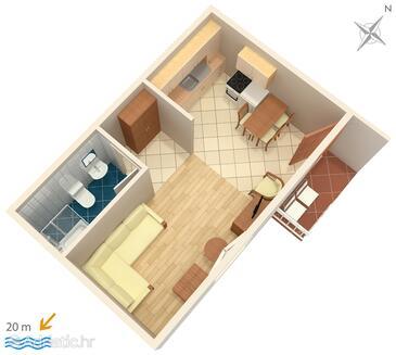 Podgora, Plan in the studio-apartment, dopusteni kucni ljubimci i WIFI.