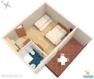 Podaca, Plano in the studio-apartment, WiFi.