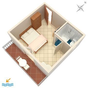 Podaca, Půdorys v ubytování typu studio-apartment, WiFi.