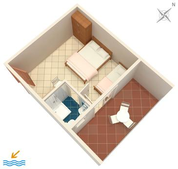 Podaca, Plan in the studio-apartment, WIFI.